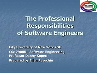 The Professional Responsibilities of Software Engineers
