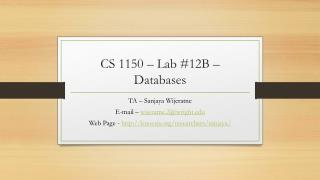 CS 1150  – Lab  #12B  –  Databases