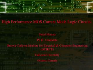 High Performance MOS Current Mode Logic Circuits