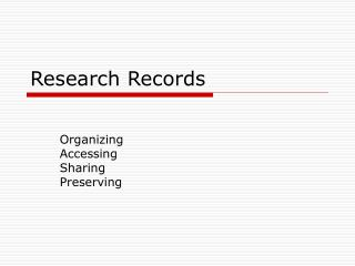 Research Records