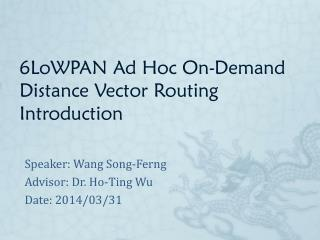 6LoWPAN Ad Hoc On-Demand Distance Vector Routing Introduction