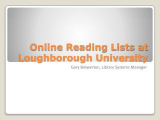 Online Reading Lists at Loughborough University