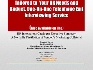 HR Innovations Catalogue Executive Summary