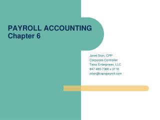PAYROLL ACCOUNTING Chapter 6