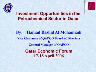 Investment Opportunities in the Petrochemical Sector in Qatar