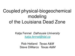 Coupled physical-biogeochemical modeling  of the Louisiana Dead Zone