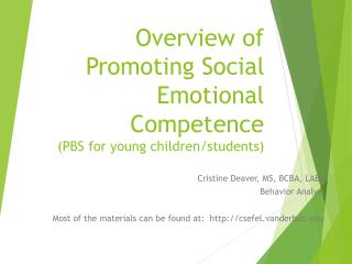Overview of Promoting Social Emotional Competence (PBS for young children/students)