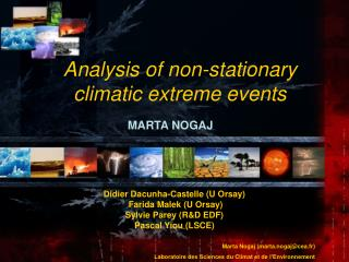 Analysis of non-stationary climatic extreme events