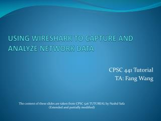 USING WIRESHARK TO CAPTURE AND ANALYZE NETWORK DATA