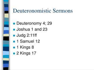 Deuteronomistic Sermons