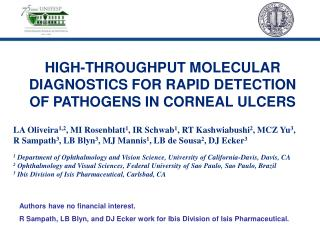HIGH-THROUGHPUT MOLECULAR DIAGNOSTICS FOR RAPID DETECTION OF PATHOGENS IN CORNEAL ULCERS