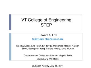 VT College of Engineering STEP