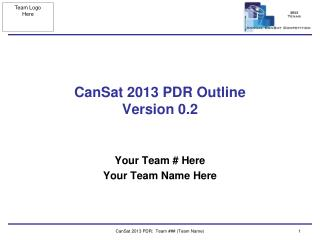 CanSat 2013 PDR Outline  Version  0.2