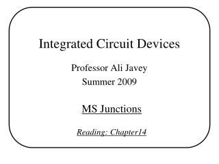 Chapter 14-1. Metal-semiconductor MS junctions