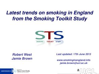 Latest trends on smoking in England from the Smoking Toolkit Study