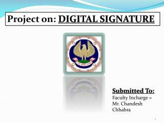 Project on:  DIGITAL SIGNATURE