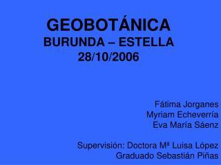 GEOBOTÁNICA BURUNDA – ESTELLA 28/10/2006