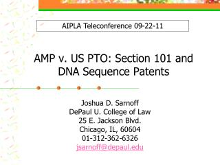 AMP v. US PTO: Section 101 and DNA Sequence Patents