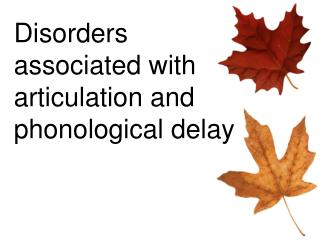 Disorders associated with articulation and phonological delay