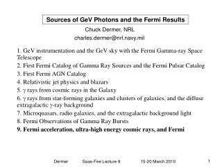 Sources of GeV Photons and the Fermi Results