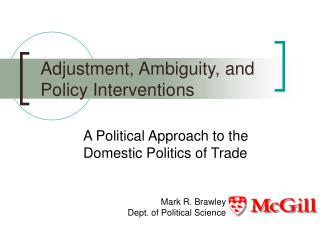 Adjustment, Ambiguity, and Policy Interventions