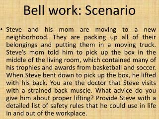 Bell work: Scenario