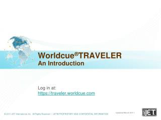 Worldcue ® TRAVELER An Introduction