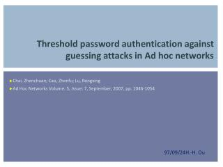 Threshold password authentication against guessing attacks in Ad hoc networks