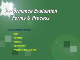 Performance Evaluation Forms & Process