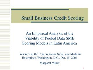 Small Business Credit Scoring