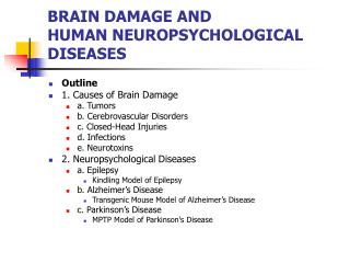 BRAIN DAMAGE AND HUMAN NEUROPSYCHOLOGICAL DISEASES