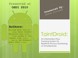 TaintDroid: