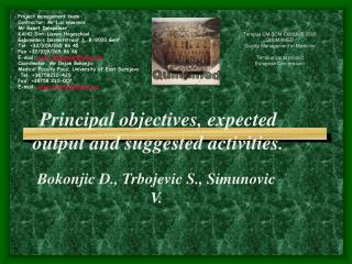 Principal objectives, expected output and suggested activities.