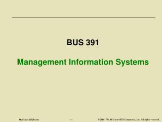 BUS 391 Management Information Systems
