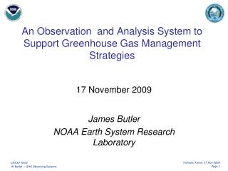 An Observation  and Analysis System to Support Greenhouse Gas Management Strategies