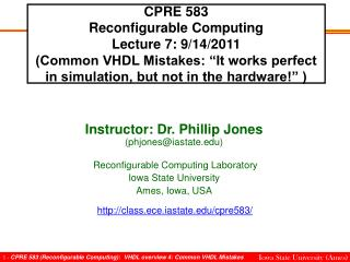CPRE 583 Reconfigurable Computing