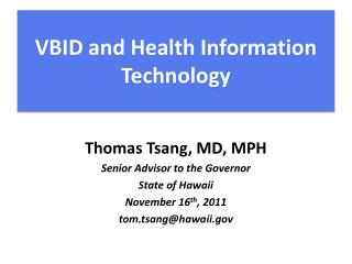 VBID and Health Information Technology