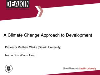 A Climate Change Approach to Development