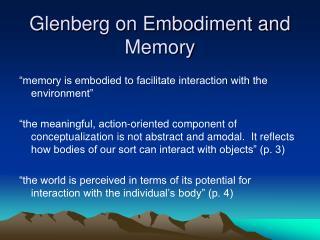 Glenberg on Embodiment and Memory