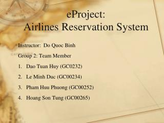eP roject: Airlines Reservation System