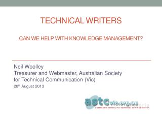 Technical writers Can we help with knowledge management?
