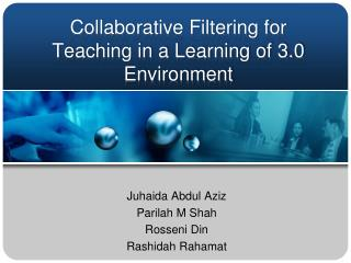 Collaborative Filtering for Teaching in a Learning of 3.0 Environment