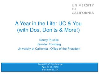 A Year in the Life: UC & You (with Dos, Don'ts & More!)