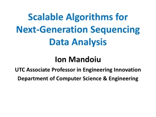 Scalable Algorithms for Next-Generation Sequencing Data Analysis