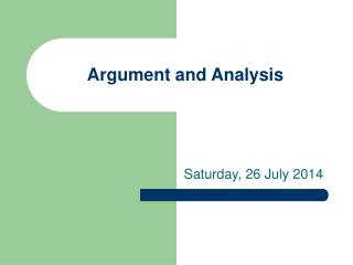 Argument and Analysis