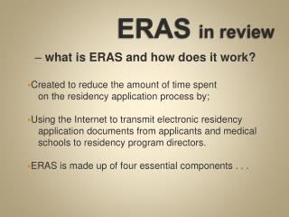 ERAS  in review