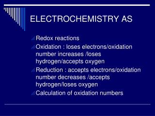ELECTROCHEMISTRY AS