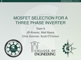MOSFET SELECTION FOR A THREE PHASE INVERTER