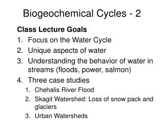 Biogeochemical Cycles - 2