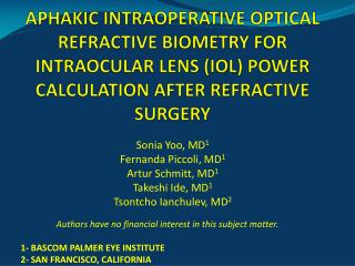 APHAKIC INTRAOPERATIVE OPTICAL REFRACTIVE BIOMETRY